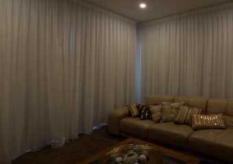 Inverted pleat sheer, minimal fullness, 2 windows, block out lining behind - closed lights on