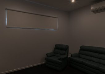 Blockout roller blind in media room