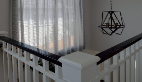 Designer inverted pleat sheer, 2 layer feature in stairwell
