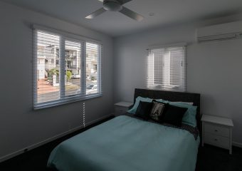 Venetian blinds in bedroom