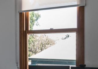 Double bracket roller blinds for sun control and blockout-open