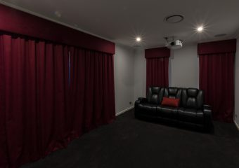 Matching pelmets and blockout curtains media room