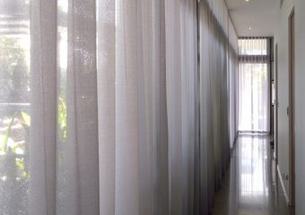 S fold snow voil soft grey sheers from ceiling-hallway