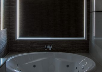 Textured blind bathroom